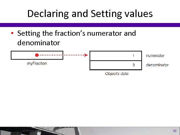 Declaring and Setting values • Setting the fraction's numerator and denominator 33
