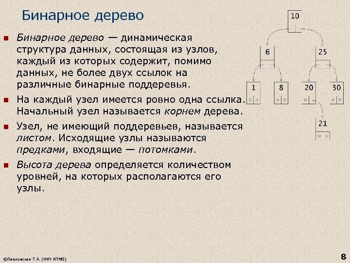 Бинарное дерево n Бинарное дерево — динамическая структура данных, состоящая из узлов, каждый из