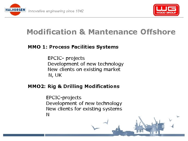 Innovative engineering since 1842 Modification & Mantenance Offshore MMO 1: Process Facilities Systems EPCIC-