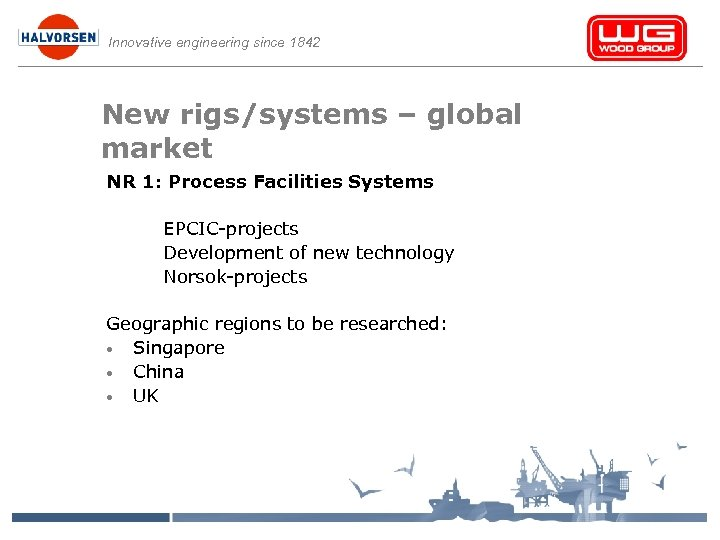 Innovative engineering since 1842 New rigs/systems – global market NR 1: Process Facilities Systems
