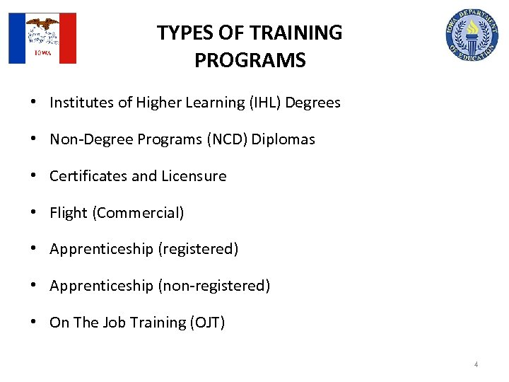 TYPES OF TRAINING PROGRAMS • Institutes of Higher Learning (IHL) Degrees • Non-Degree Programs