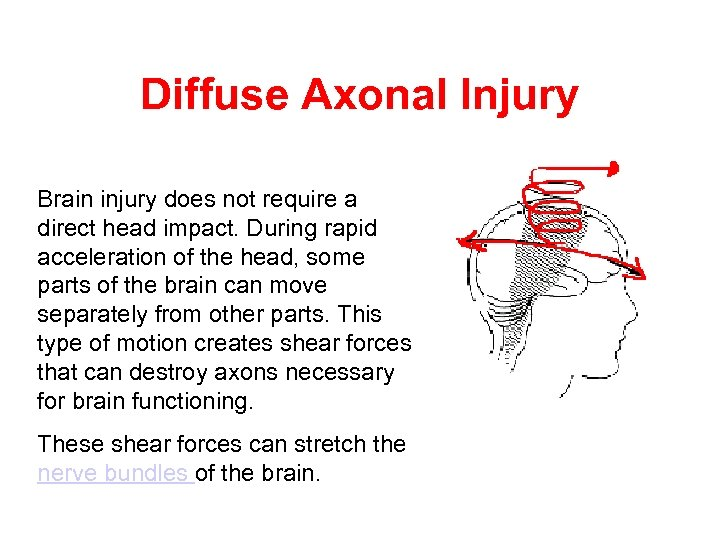 Diffuse Axonal Injury Brain injury does not require a direct head impact. During rapid