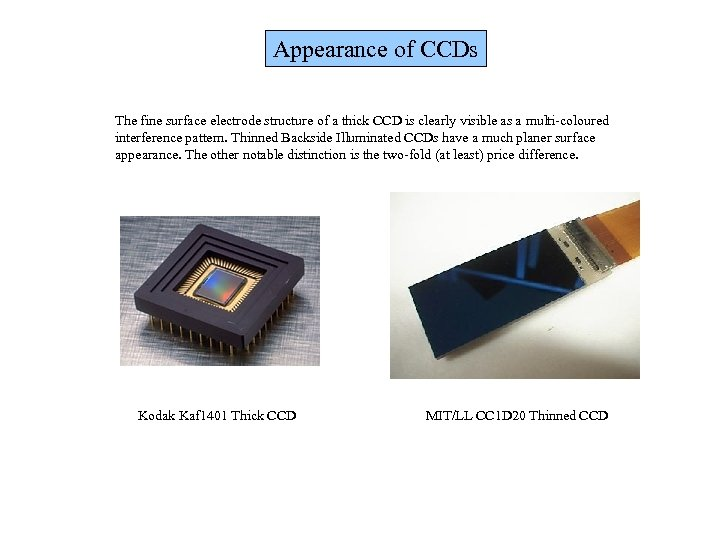 Appearance of CCDs The fine surface electrode structure of a thick CCD is clearly