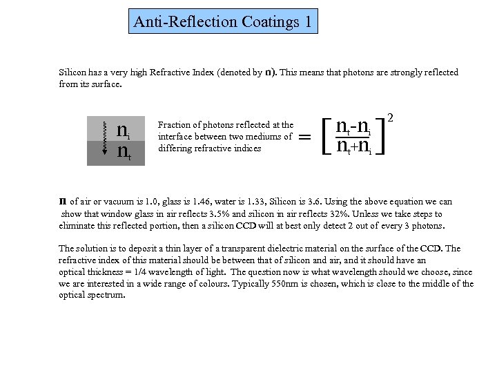 Anti-Reflection Coatings 1 Silicon has a very high Refractive Index (denoted by n). This