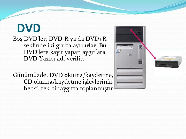 DVD Boş DVD'ler, DVD-R ya da DVD+R şeklinde iki gruba ayrılırlar. Bu DVD'lere kayıt