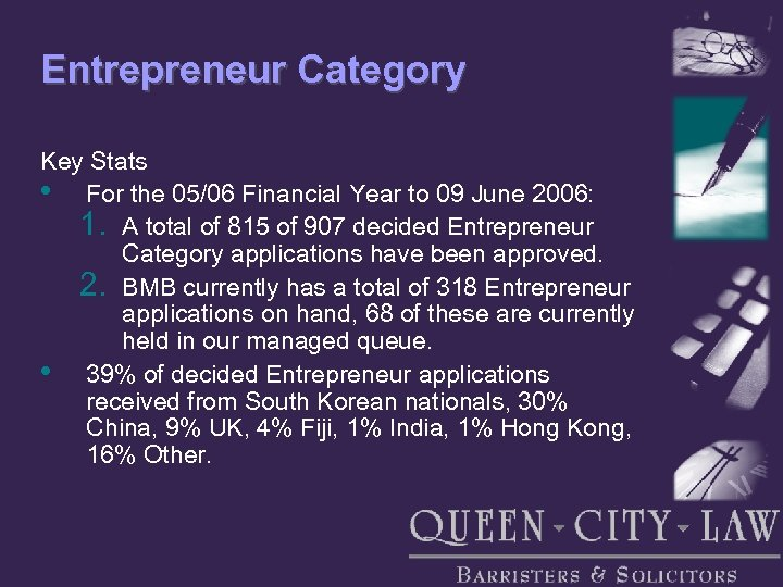 Entrepreneur Category Key Stats • For the 05/06 Financial Year to 09 June 2006: