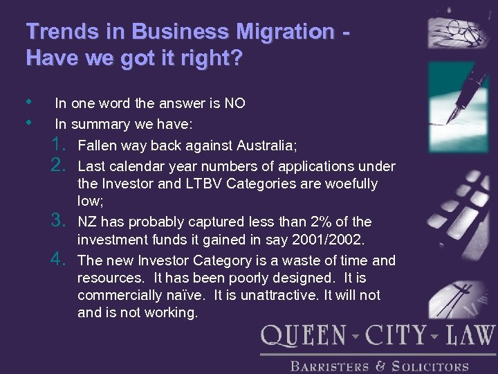 Trends in Business Migration Have we got it right? • • In one word