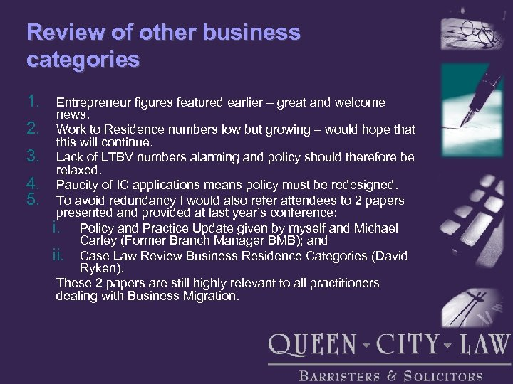 Review of other business categories 1. 2. 3. 4. 5. Entrepreneur figures featured earlier