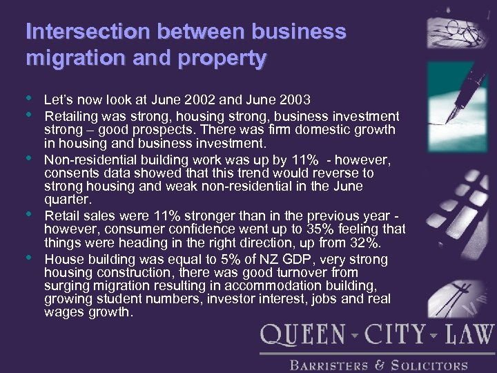 Intersection between business migration and property • • • Let's now look at June