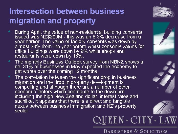 Intersection between business migration and property • • • During April, the value of