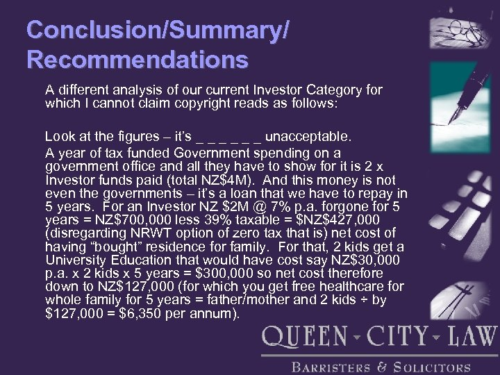 Conclusion/Summary/ Recommendations A different analysis of our current Investor Category for which I cannot
