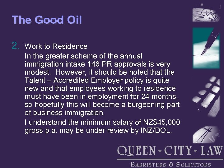 The Good Oil 2. Work to Residence In the greater scheme of the annual