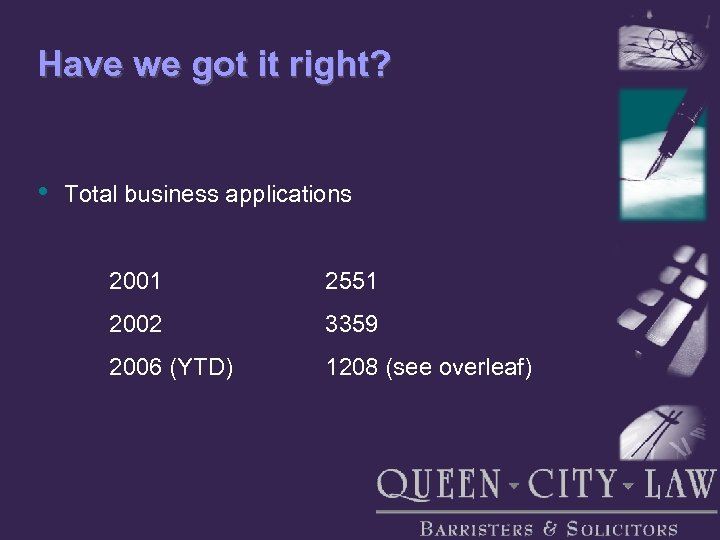 Have we got it right? • Total business applications 2001 2551 2002 3359 2006