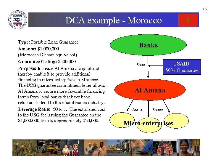 13 DCA example - Morocco Type: Portable Loan Guarantee Amount: $1, 000 (Moroccan Dirham
