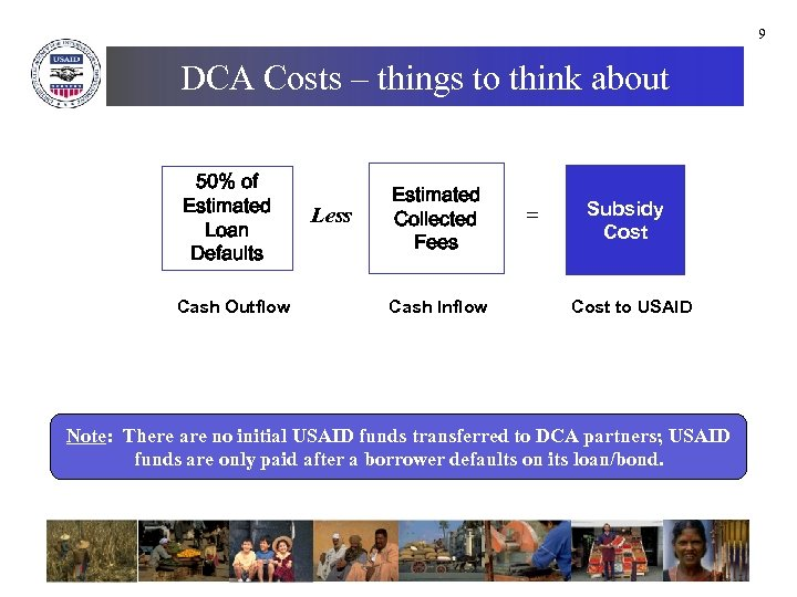 9 DCA Costs – things to think about 50% of Estimated Loan Defaults Cash