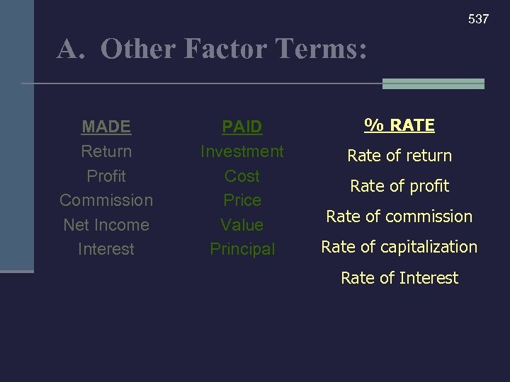 537 A. Other Factor Terms: MADE Return Profit Commission Net Income Interest PAID Investment
