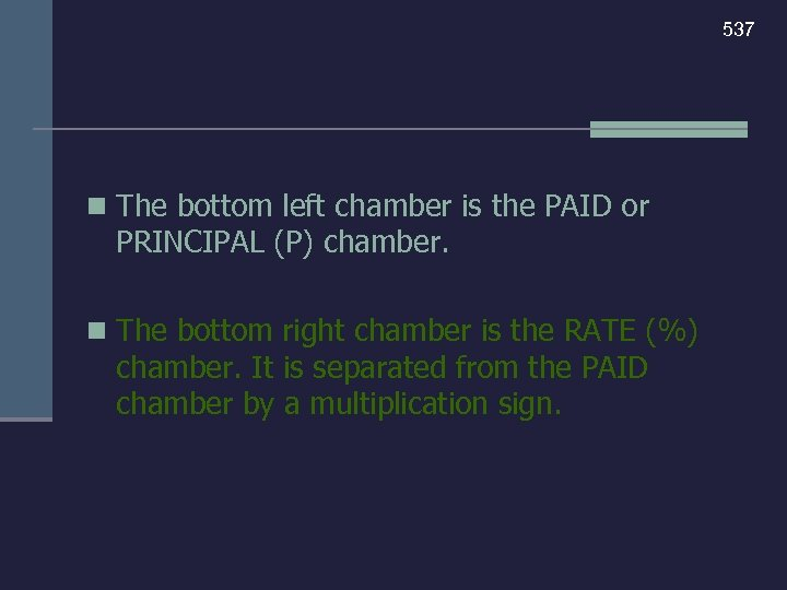 537 n The bottom left chamber is the PAID or PRINCIPAL (P) chamber. n