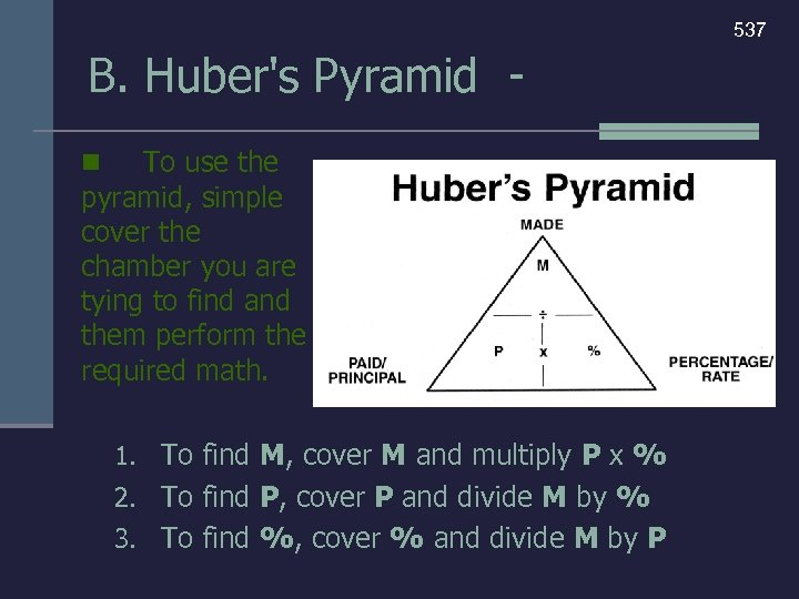 537 B. Huber's Pyramid To use the pyramid, simple cover the chamber you are