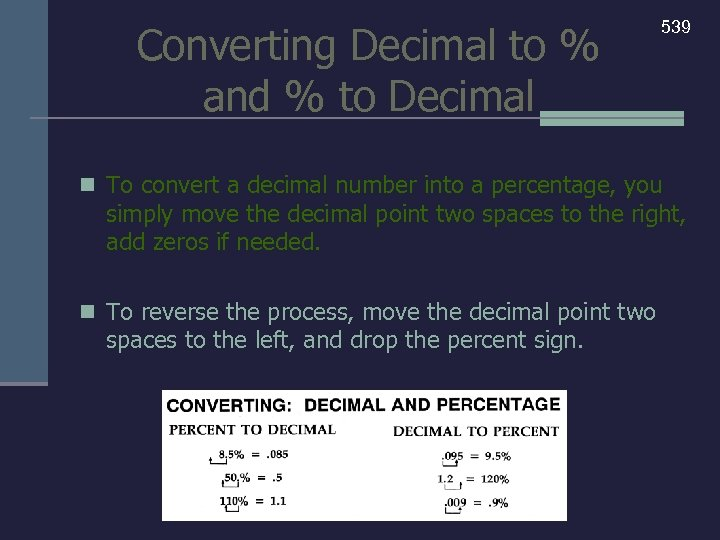Converting Decimal to % and % to Decimal 539 n To convert a decimal