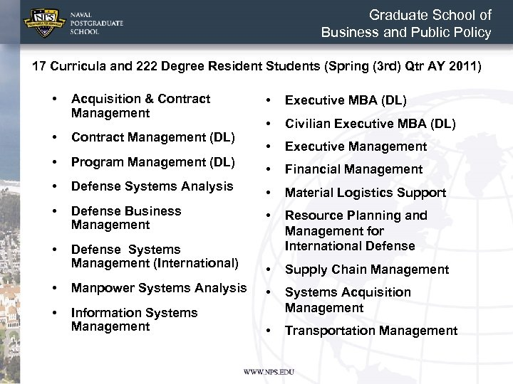 Graduate School of Business and Public Policy 17 Curricula and 222 Degree Resident Students