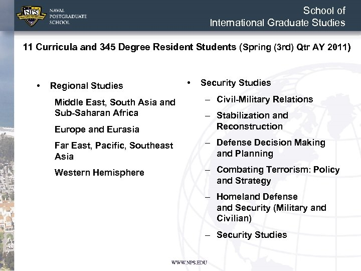 School of International Graduate Studies 11 Curricula and 345 Degree Resident Students (Spring (3