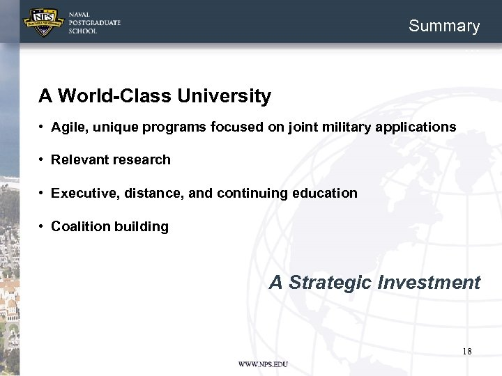 Summary … A World-Class University • Agile, unique programs focused on joint military applications