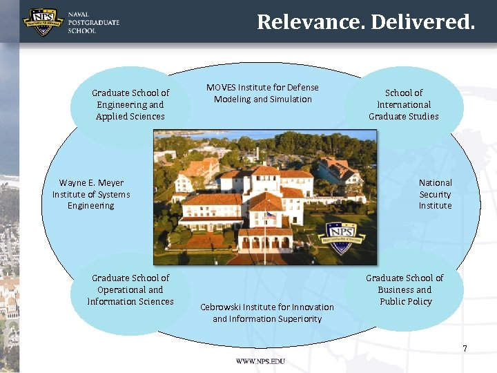 Relevance. Delivered. Graduate School of Engineering and Applied Sciences MOVES Institute for Defense Modeling