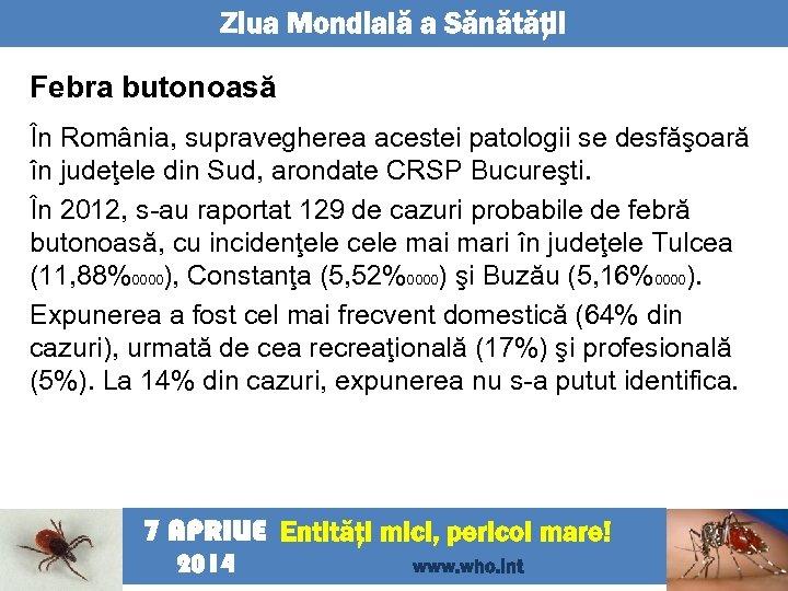 Ziua Mondială a Sănătăţii Febra butonoasă În România, supravegherea acestei patologii se desfăşoară în