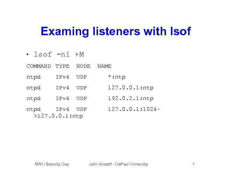 Examing listeners with lsof • lsof -ni +M COMMAND TYPE NODE ntpd IPv 4