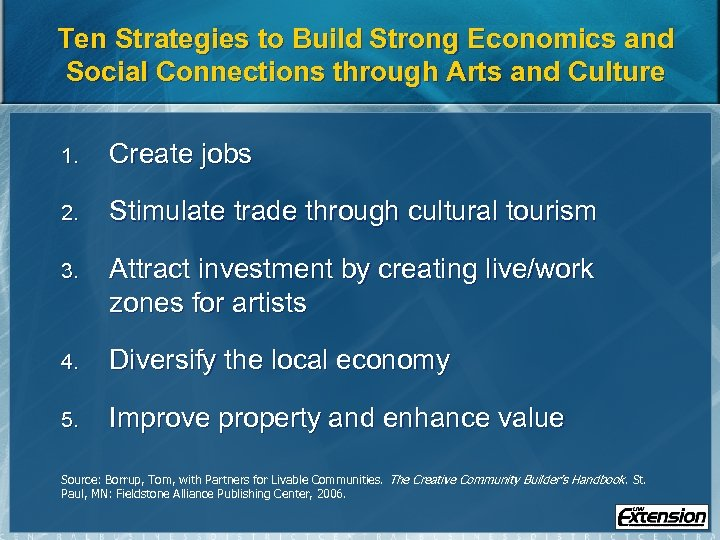 Ten Strategies to Build Strong Economics and Social Connections through Arts and Culture 1.