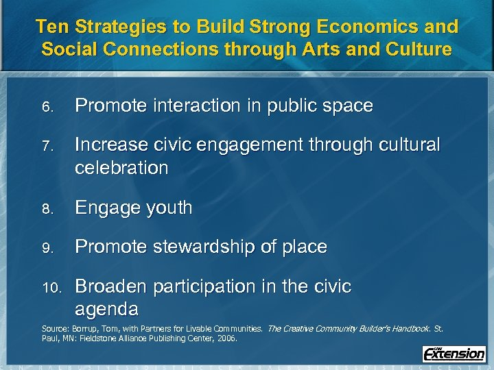 Ten Strategies to Build Strong Economics and Social Connections through Arts and Culture 6.