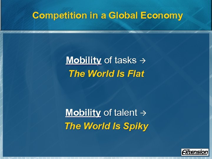 Competition in a Global Economy Mobility of tasks The World Is Flat Mobility of