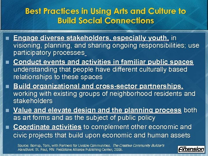 Best Practices in Using Arts and Culture to Build Social Connections n n n