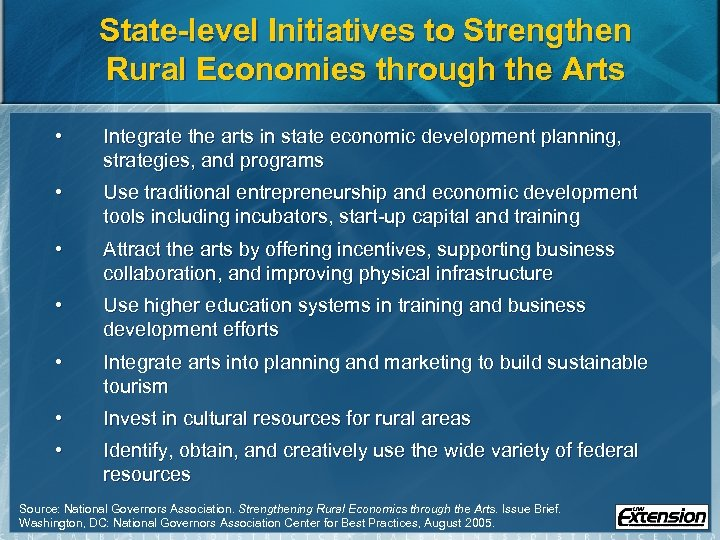 State-level Initiatives to Strengthen Rural Economies through the Arts • Integrate the arts in