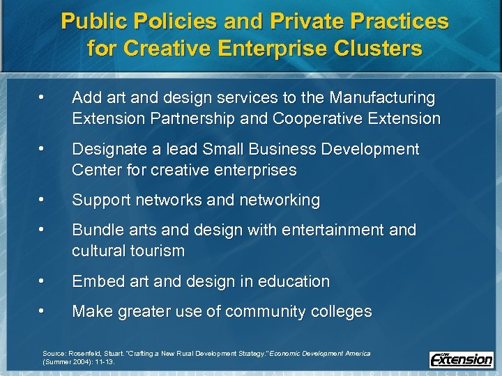 Public Policies and Private Practices for Creative Enterprise Clusters • Add art and design