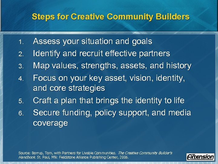 Steps for Creative Community Builders 1. 2. 3. 4. 5. 6. Assess your situation
