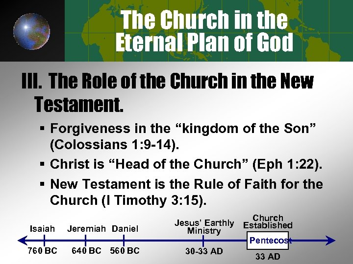 The Church in the Eternal Plan of God III. The Role of the Church