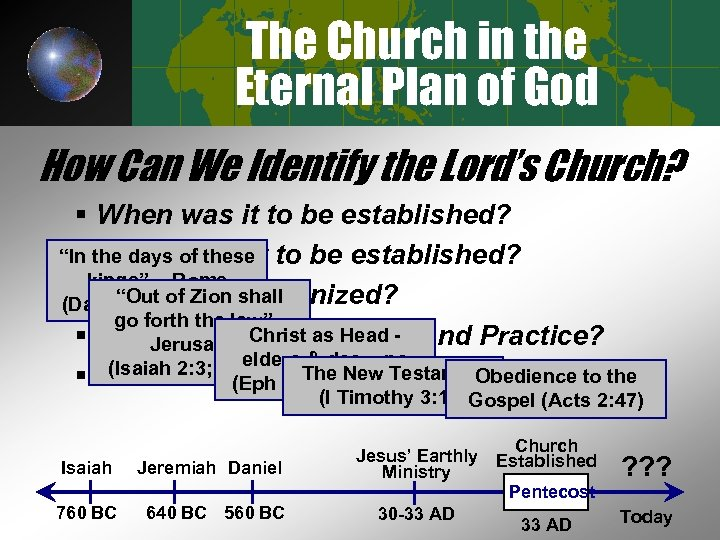 The Church in the Eternal Plan of God How Can We Identify the Lord's