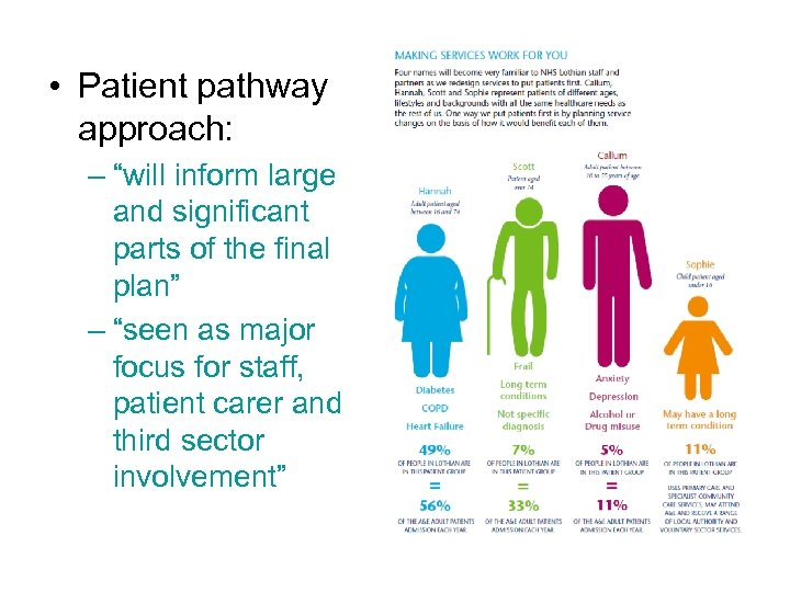 """• Patient pathway approach: – """"will inform large and significant parts of the"""