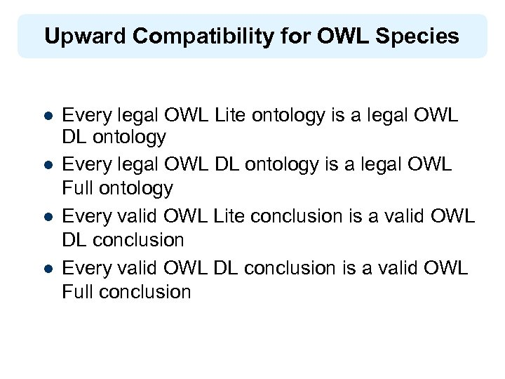 Upward Compatibility for OWL Species l l Every legal OWL Lite ontology is a