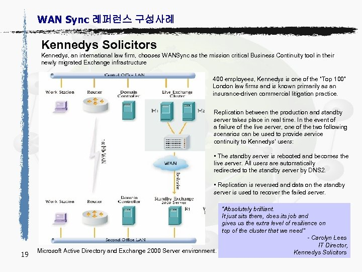 WAN Sync 레퍼런스 구성사례 Kennedys Solicitors Kennedys, an international law firm, chooses WANSync as