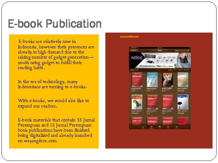 E-book Publication www. wayangforce. com E-books are relatively new in Indonesia, however their presences