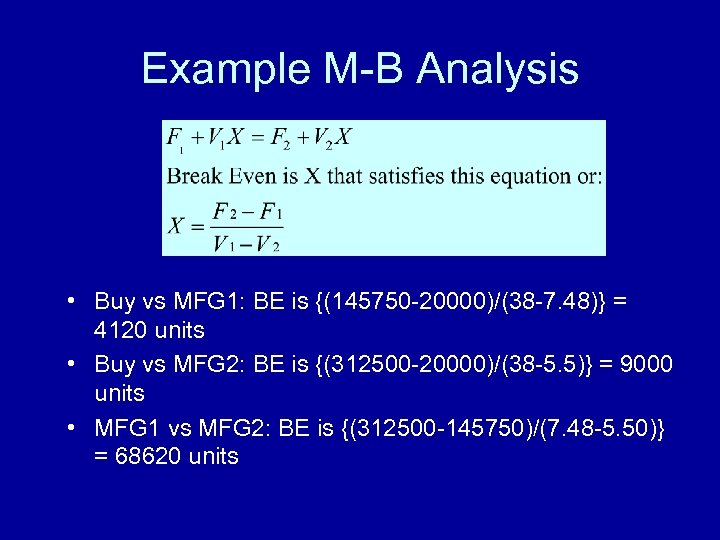 Example M-B Analysis • Buy vs MFG 1: BE is {(145750 -20000)/(38 -7. 48)}