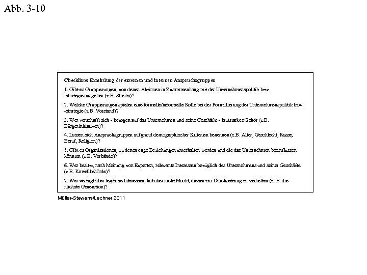 Abb. 3 -10 Checkliste: Ermittlung der externen und internen Anspruchsgruppen 1. Gibt es Gruppierungen,