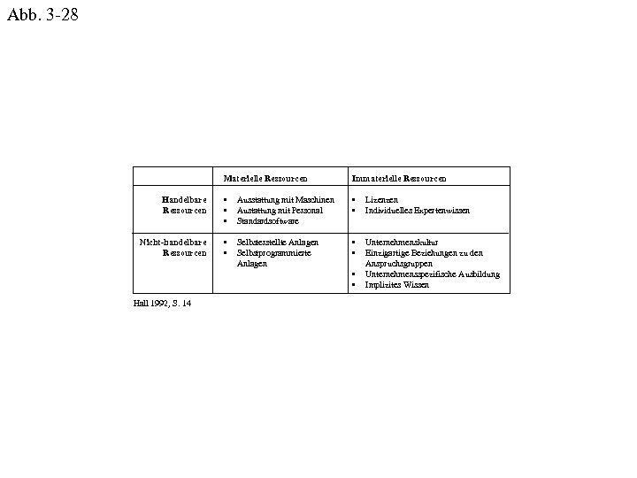 Abb. 3 -28 Materielle Ressourcen Immaterielle Ressourcen Handelbare Ressourcen • • • Ausstattung mit