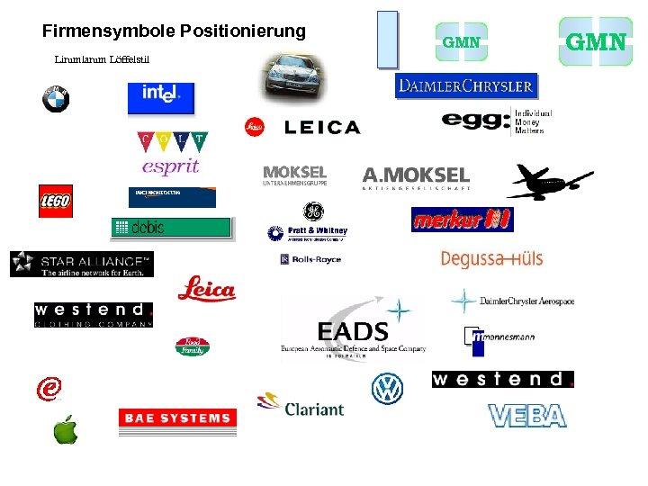 Firmensymbole Positionierung Lirumlarum Löffelstil GMN
