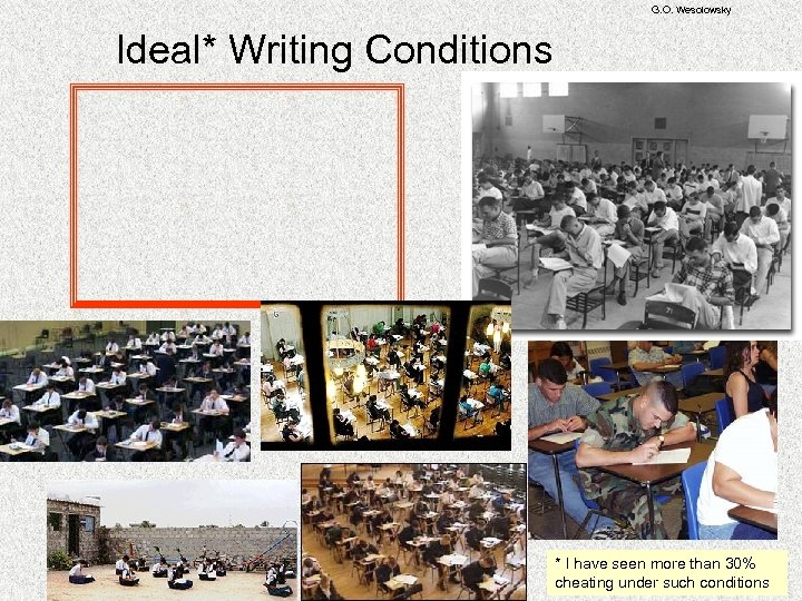 G. O. Wesolowsky Ideal* Writing Conditions * I have seen more than 30% cheating