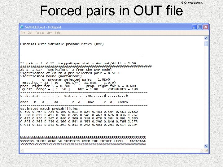G. O. Wesolowsky Forced pairs in OUT file