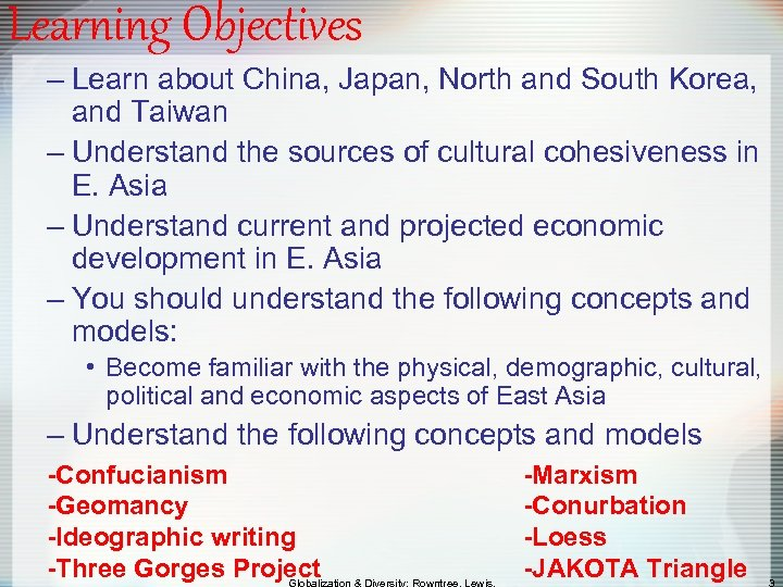 Learning Objectives – Learn about China, Japan, North and South Korea, and Taiwan –