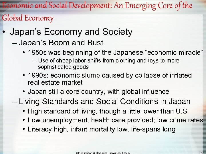 Economic and Social Development: An Emerging Core of the Global Economy • Japan's Economy